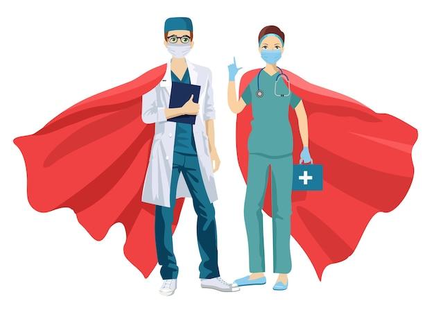 Super médecin et infirmière portant des masques médicaux et des capes