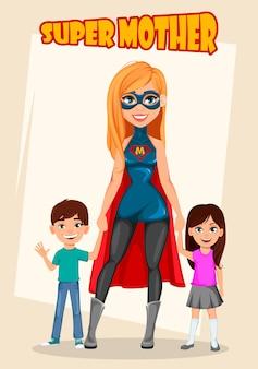 Super mère femme super-héros.
