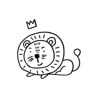 Super mignon d'adorable lion dans un style scandinave branché