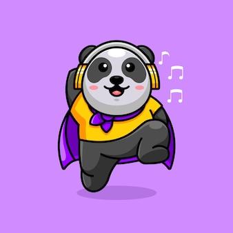 Super panda mignon avec des écouteurs
