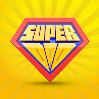 Super-papa. logo superdad. concept de fête des pères. père super-héros. style comique.