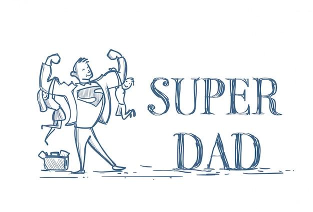 Super papa tenant son fils et sa fille griffonnage sur blanc