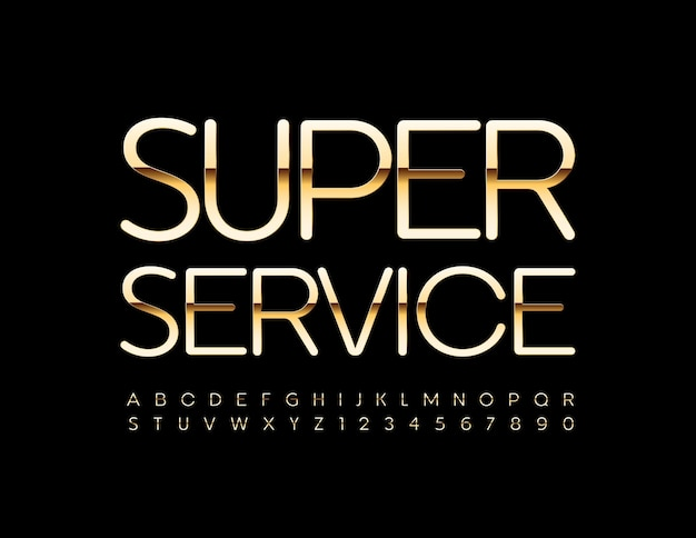 Super service shiny gold alphabet letters and numbers set police de style elite