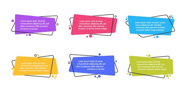 Super set bannières plates géométriques de forme différente. formes abstraites modernes pour citation et texte. style plat moderne