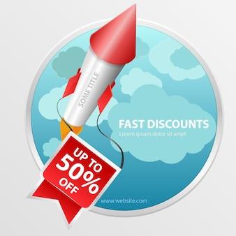 Super solde, -50% de réduction. super rapide, bannière fast red rocket