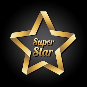 Super star doré sur illustration vectorielle fond noir
