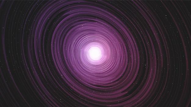 Super trou noir sur fond de galaxie avec spirale de la voie lactée, conception d'univers et de concept étoilé, vecteur