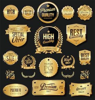 Super vente badges or rétro et étiquettes vector collection