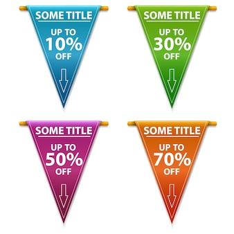 Super vente, bannière, -70% -50%, -30%, -10% de réduction