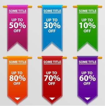 Super vente, bannière, -80%, -70%, -60%, -50%, -30%, -10% de réduction