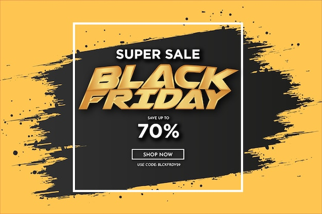 Super vente bannière jaune vendredi noir avec cadre et cadre de coup de pinceau noir