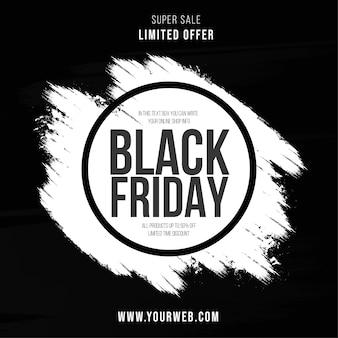 Super vente bannière vendredi noir avec fond de coup de pinceau