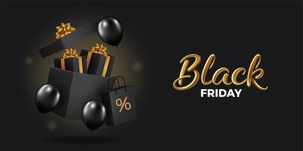 Super vente du vendredi noir. coffrets cadeaux noirs réalistes. boîte-cadeau ouverte pleine d'objets de fête décoratifs. texte d'or.