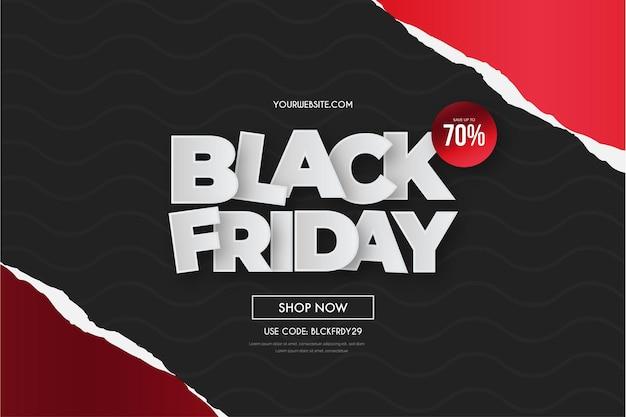 Super vente du vendredi noir avec un papier découpé rouge réaliste