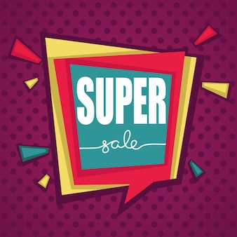 Super vente, étiquettes à bulles lumineuses biscount pop art, bannières et autocollants