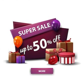 Super vente, jusqu'à 50% de réduction, bannière de dessin animé de réduction pourpre avec des cadeaux