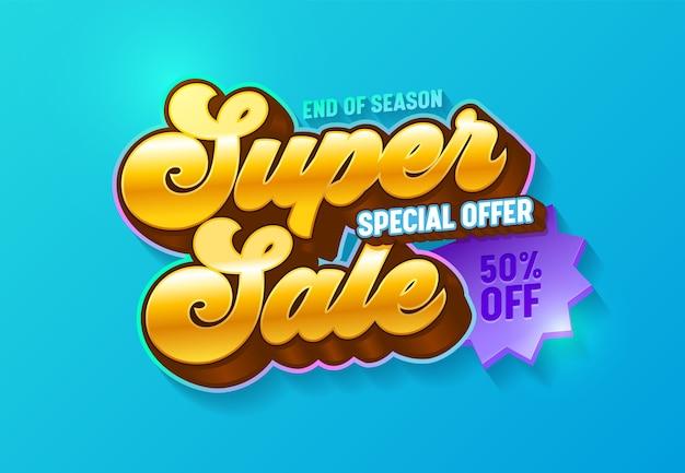 Super vente offre spéciale bannière de typographie dorée 3d