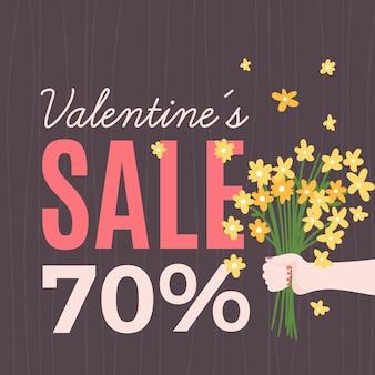 Super vente de saint valentin dessiné à la main
