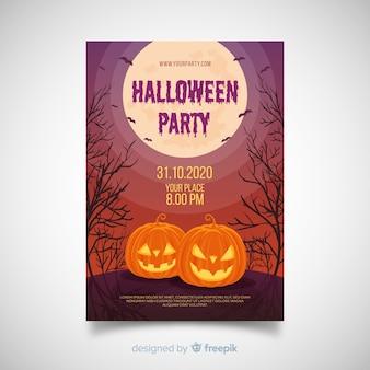 Superbe affiche de fête d'halloween au design plat
