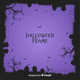 Superbe cadre halloween avec un design plat
