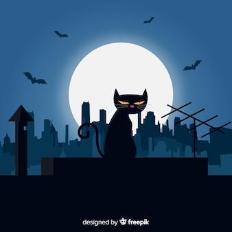 Superbe chat d'halloween au design plat