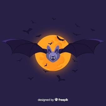 Superbe chauve-souris d'halloween au design plat