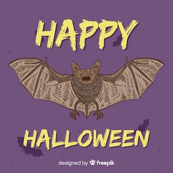 Superbe chauve-souris d'halloween dessinée à la main