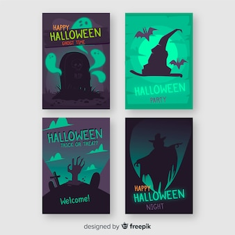 Superbe collection de cartes halloween avec un design plat