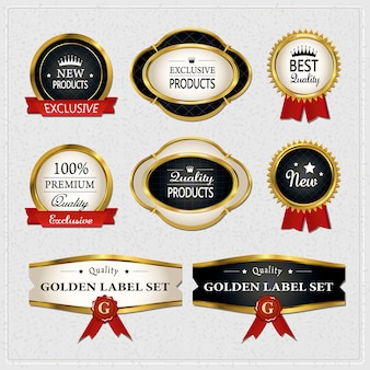 Superbe collection d'étiquettes dorées de qualité supérieure sur gris