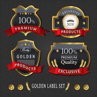 Superbe collection d'étiquettes dorées de qualité supérieure sur noir