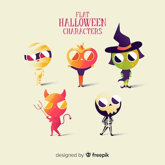 Superbe collection de personnages d'halloween au design plat