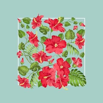 Superbe composition carrée de fleurs tropicales.