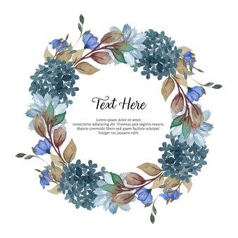 Superbe couronne florale aquarelle bleue avec placez votre texte
