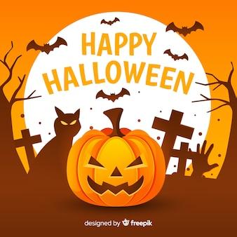 Superbe fond d'halloween avec un design plat