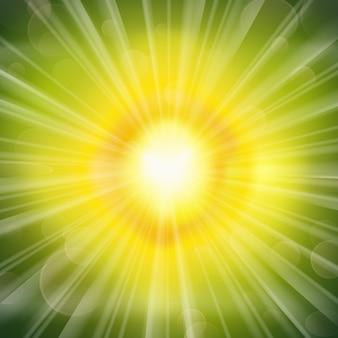 Superbe fond rayonnant de lueur verte
