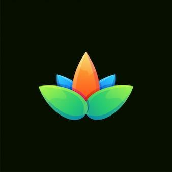 Superbe logo coloré de lotus