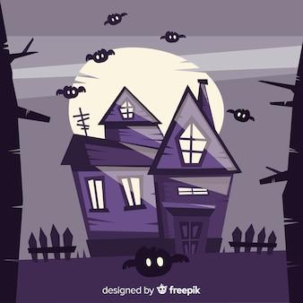 Superbe maison hantée d'halloween au design plat