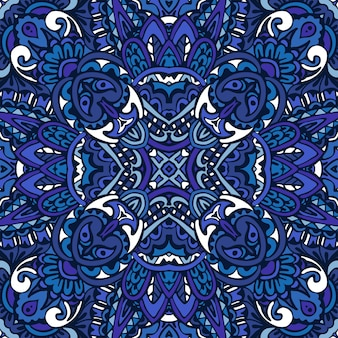 Superbe motif harmonieux de carreaux orientaux en denim bleu, ornements.