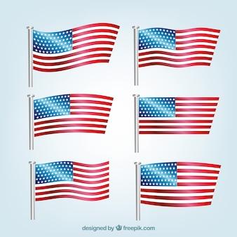 Superbe paquet de six drapeaux américains réalistes