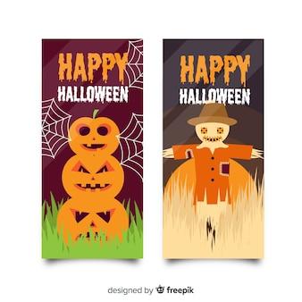 De superbes bannières d'halloween au design plat
