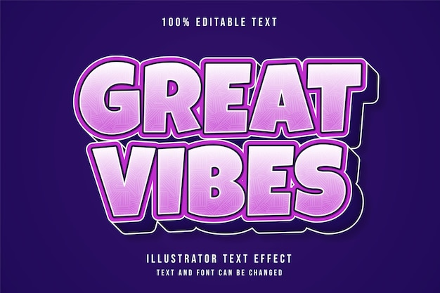 Superbes vibrations, effet de texte modifiable 3d dégradé rose style de texte comique violet