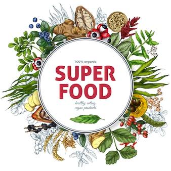 Superfood bannière cadre rond, croquis réaliste en couleur