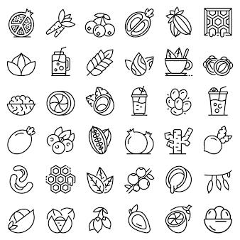 Superfood icons set, style de contour