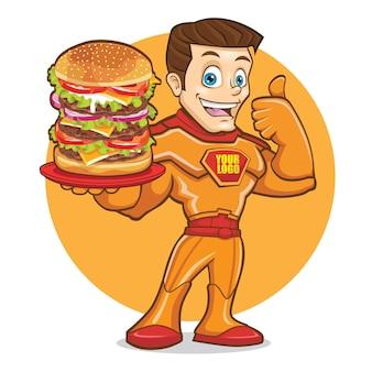Superhero big burger mascotte logo design