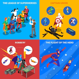 Superhero concept isometric elements set