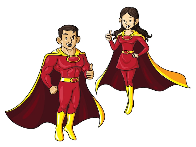 Superhero couple cartoon