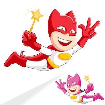 Superhero superboy supergirls mascot fly cartoon