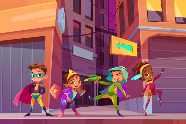 Superheros enfants sur le concept de vecteur de dessin animé rue de la ville avec un sourire heureux