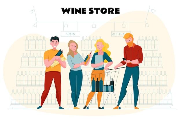 Supermarché et affiche de coupe avec des symboles de magasin de vin à plat