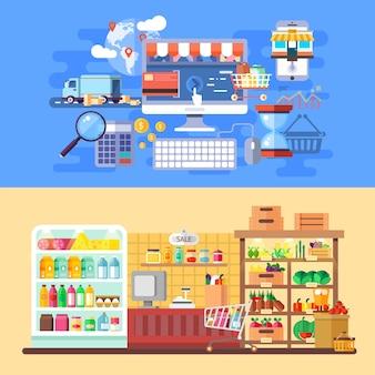 Supermarché et bannières de commerce électronique